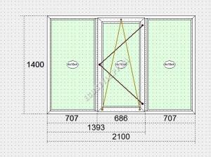 ПВХ окна Steko S300 2100x1400